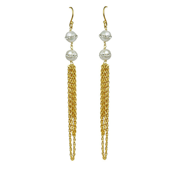 Double White Pearl Statement Earrings - jeweleen - 1