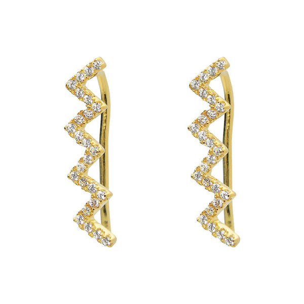 Silver 18k Gold Plated Zig-Zag CZ Climbers Earrings - jeweleen