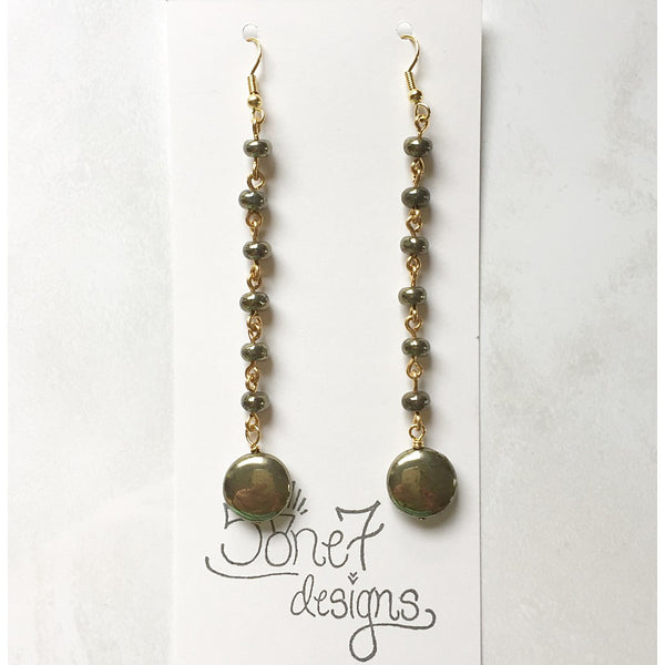 Pyrite Rosary Earrings - jeweleen
