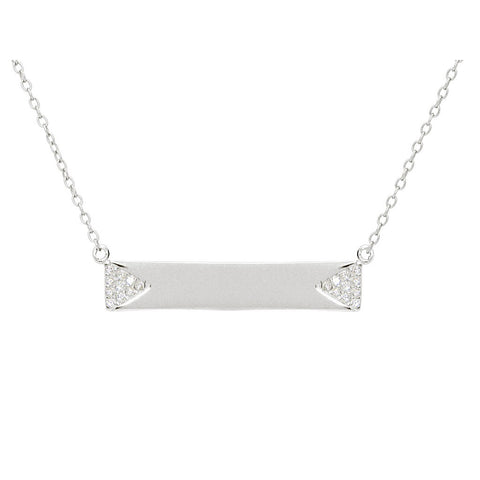 "Silver Rhodium Plated Bar Engravable  Pave Cz Side Triangles 16""+2"" Necklace - jeweleen"