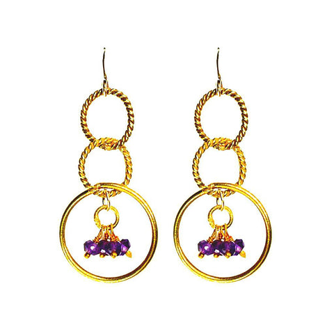'Twisted Links' Dangle Earrings: Gold/Amethyst - jeweleen