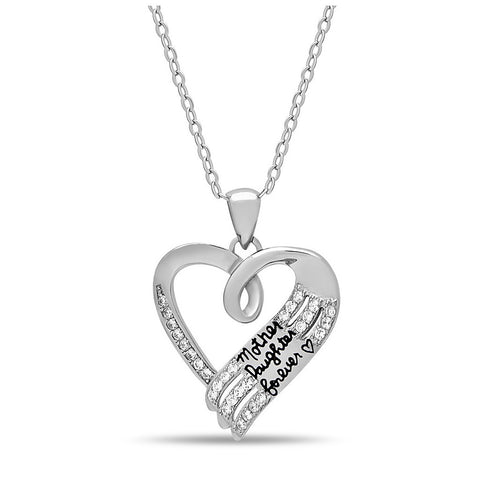 Elegant Mother Daughter Necklace, 925 Sterling Silver, Silver Plated Heart Necklace - jeweleen - 1