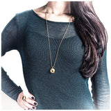 Gold Double Gem Dome Necklace - jeweleen - 4