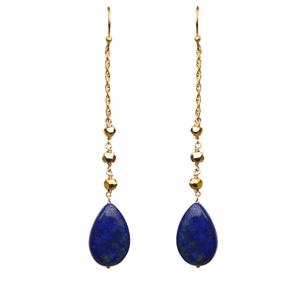 Lapis Lazuli Linear Drop Earrings - jeweleen - 1