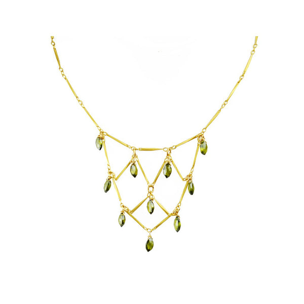 Green Tourmaline Bib Necklace - jeweleen - 1