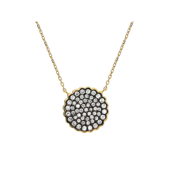 "Silver Gold Plated 16mm Diam Pave CZ Disc Black Rhodium Pendant Necklace 15.5""+1.5"" - jeweleen"