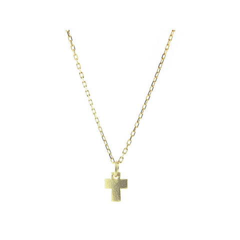 "Silver Gold Plated Satin Finish  Mini Cross 7mm Pendant Necklace 16"" +2"" - jeweleen"