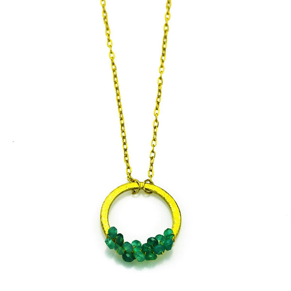'Halo' Necklace: Gold/Green Onyx - jeweleen - 1