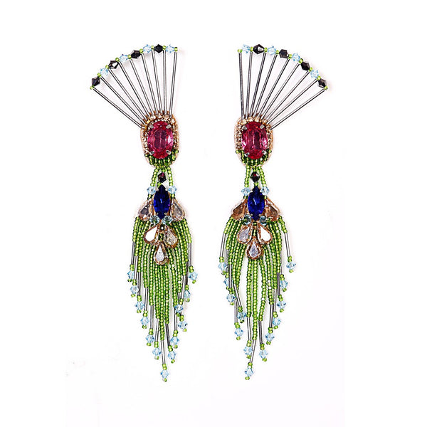 THE DANCING PEACOCK EARRINGS. - jeweleen - 1