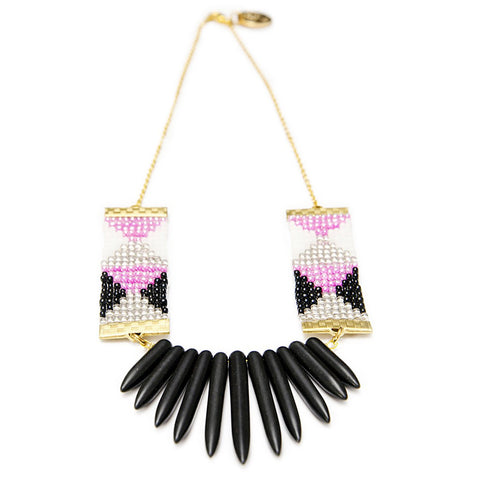 Adorn Necklace (Pink, black and white with black spikes) - jeweleen - 1