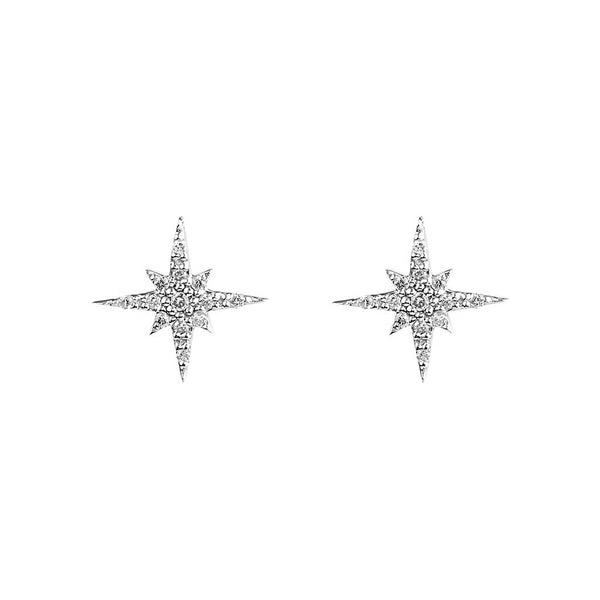 Rhodium Plated Silver Large Starburst Hook Earring - jeweleen