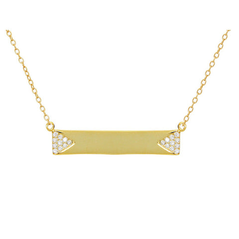 "Silver Gold Plated Bar Engravable  Pave Cz Side Triangles 16""+2"" Necklace - jeweleen"