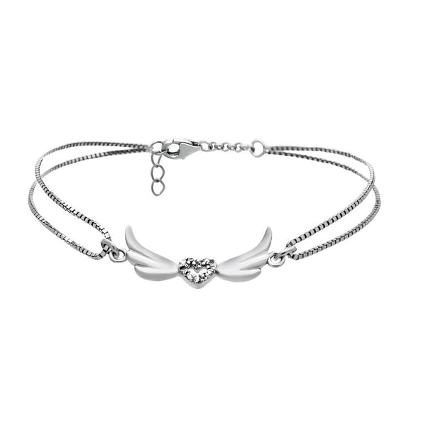 Dainty Winged Heart Bracelet with Cubic Zirconia - jeweleen - 1