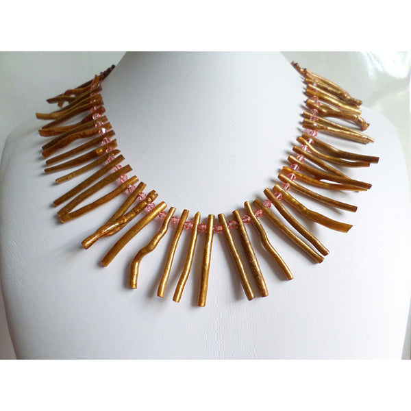 Gold Coral Necklace - jeweleen