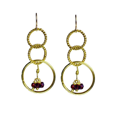 'Twisted Links' Dangle Earrings: Gold/Garnet - jeweleen