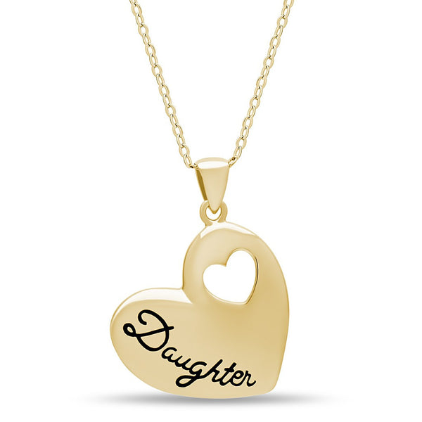 Elegant Daughter Necklace, 925 Silver, 14k Gold Plated Heart Necklace for Child - jeweleen - 1