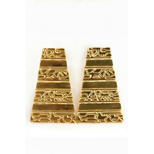 Large Pyramid Earrings- Gold - jeweleen - 1