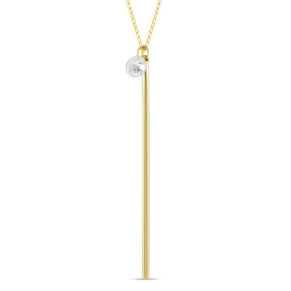 Vertical Bar Necklace, 925 Sterling Silver, 14K Gold Plated Long Bar Pendant - jeweleen - 1