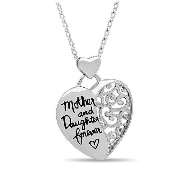 "Elegant Mother Daughter Necklace, 925 Silver, Silver Plated ""Mother & Daughter Forever"" Necklace - jeweleen - 1"