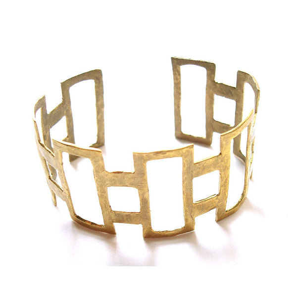 Hammered Rectangle Cuff - jeweleen - 1