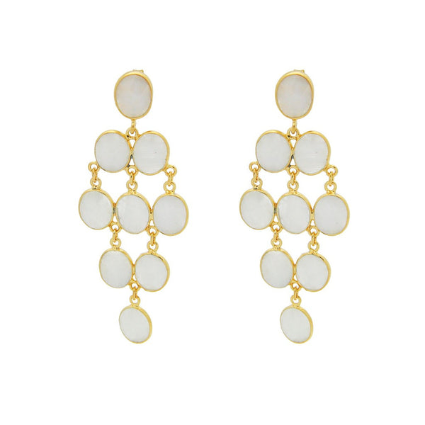 Fronay Collection Oval Moon Stone Chandelier Earrings 18k Gold Pl Silver, 2.5 - jeweleen