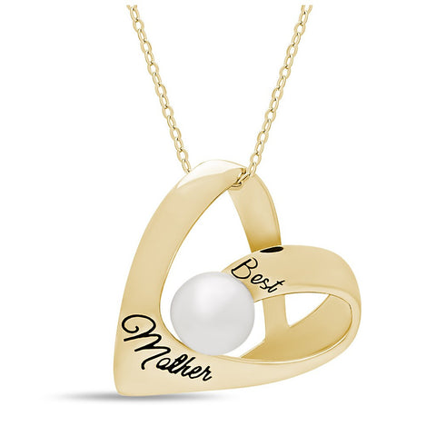 Elegant Mother Heart Necklace, 925 Silver, 14K Gold Plated Necklace for Mom - jeweleen - 1