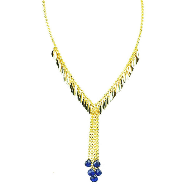BLue Sapphire Droplet Necklace - jeweleen - 1