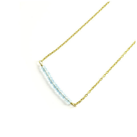 'Raise the Bar' Necklace: Gold/Aquamarine - jeweleen - 1