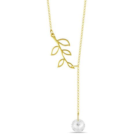 Tree Branch Lariat Necklace, 925 Sterling Silver, 14K Gold Plated Twig Pendant - jeweleen - 1