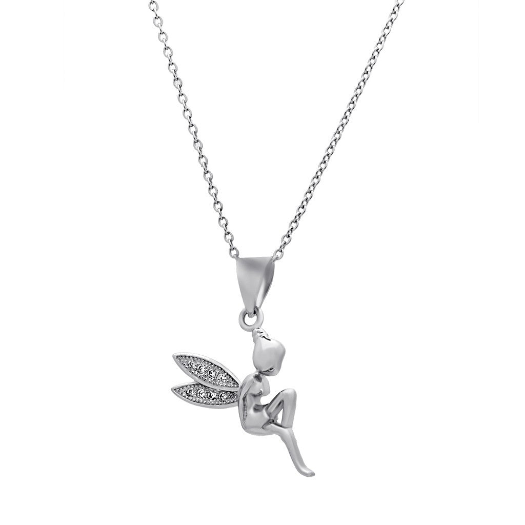 Fairy wings necklace 925 sterling silver angel pendant dainty fairy wings necklace 925 sterling silver angel pendant dainty neckla jeweleen aloadofball Images
