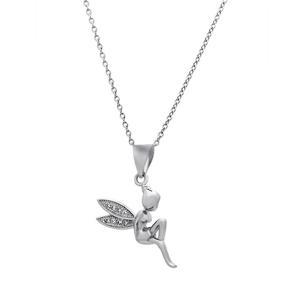 Fairy Wings Necklace, 925 Sterling Silver Angel Pendant, Dainty Necklace - jeweleen - 1