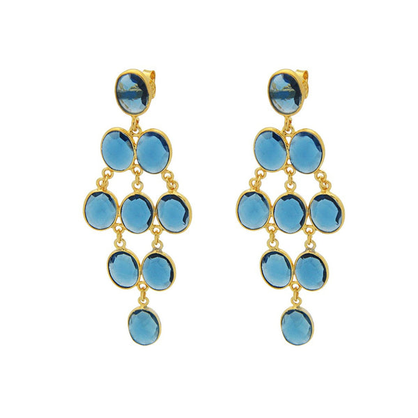Fronay Collection Blue Chalcedony Chandelier Earrings 18k Gold Pl Silver, 2.5 - jeweleen