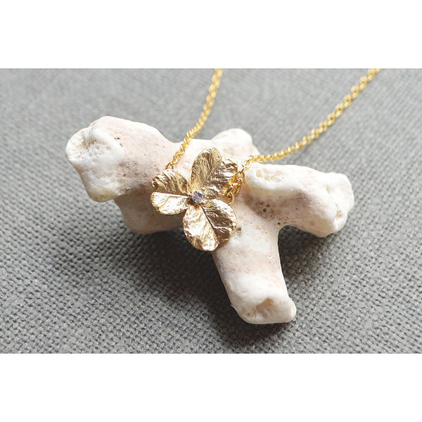 Gold zirconia flower necklaceecklace - jeweleen - 1