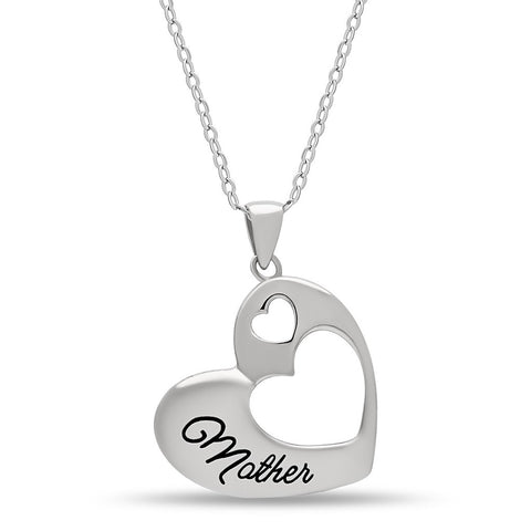 Elegant Mother Necklace, 925 Sterling Silver, Silver Plated Heart Pendant for Mother - jeweleen - 1