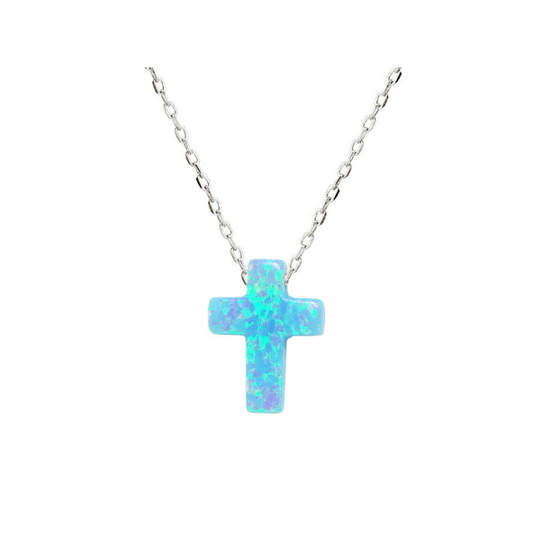 "Fronay Co, Mini Opal Cross Necklace, 15"" + 2"" ext - jeweleen"