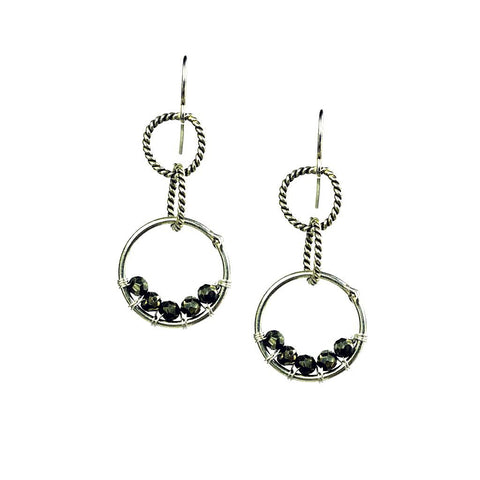 'Twisted Links' Earrings: Silver/Pyrite - jeweleen