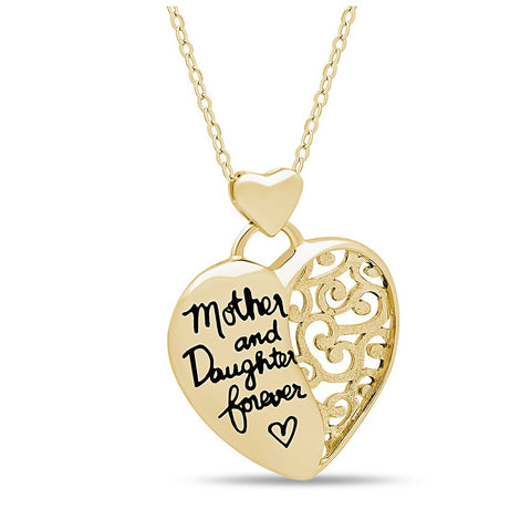"Elegant Mother Daughter Necklace, 925 Silver, 14K Gold Plated ""Mother & Daughter Forever"" Necklace - jeweleen - 1"