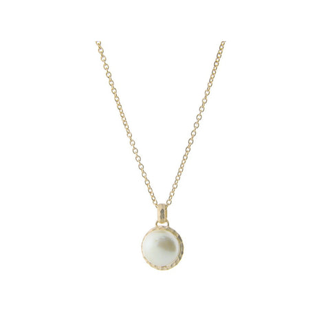 "Fronay Co., Hammered Gold Tone Freshwater Coin Pearl Pendant Necklace, 16"" + 2"" extension - jeweleen"