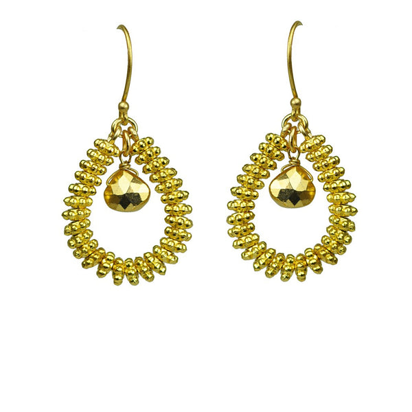 Gold Pyrite Drop Hoop Earrings - jeweleen - 1