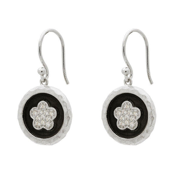 "Fronay Collection Hammered Silver Flower Disc Hook Earrings, 1.19"" - jeweleen"