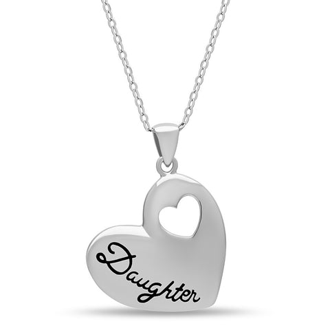 Elegant Daughter Necklace, 925 Silver, Silver Plated Heart Necklace for Child - jeweleen - 1
