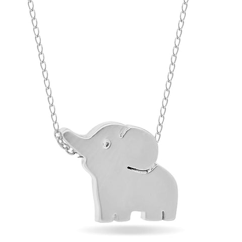 Small Elephant Necklace, 925 Sterling Silver, Silver Plated Mini Elephant Necklace - jeweleen - 1