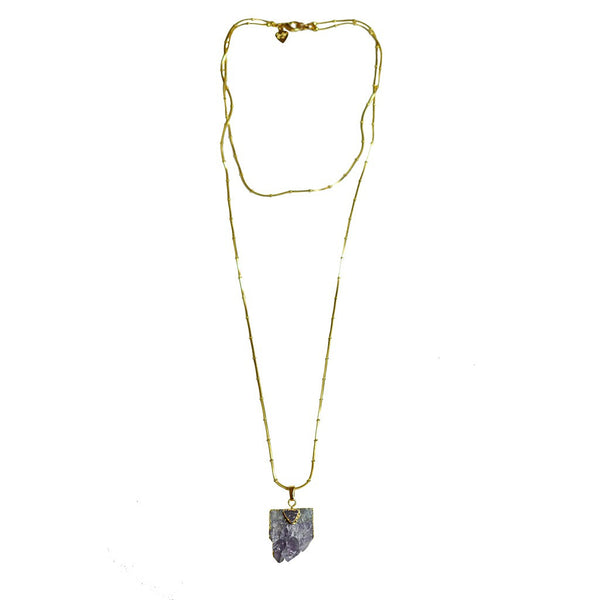 Double Chain Amethyst Pendant Necklace - jeweleen - 1