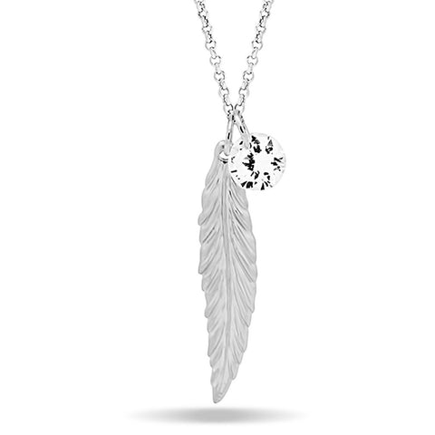 Feather Necklace, Silver Plated Feather and Birthstone Necklace, Elegant Necklace - jeweleen - 1