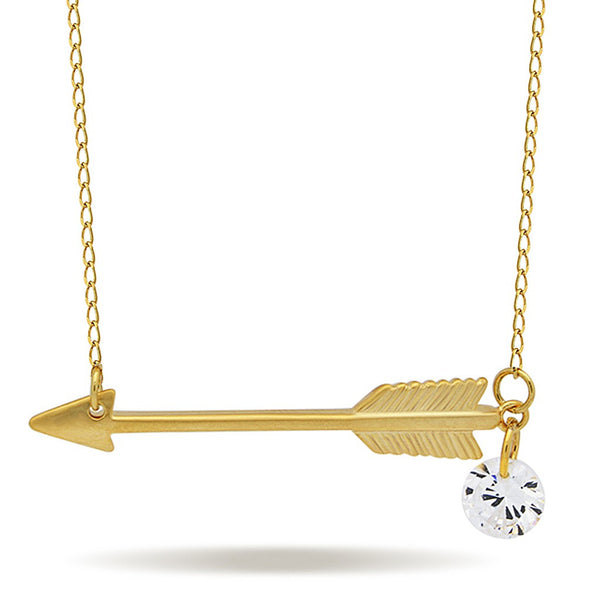 Small Arrow Necklace, 925 Sterling Silver, 14K Gold Plated Arrow Pendant - jeweleen - 1