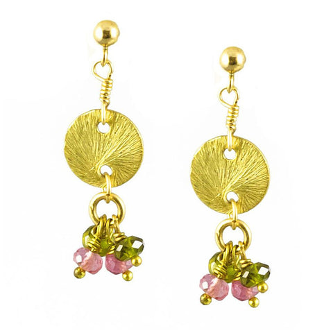 'Disk Drops' Earrings: Tourmaline - jeweleen