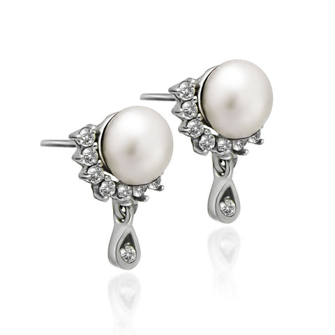 925 Sterling Silver Earrings, Teardrop Earrings, Swing Pearl Earrings, Ball Earrings - jeweleen - 1