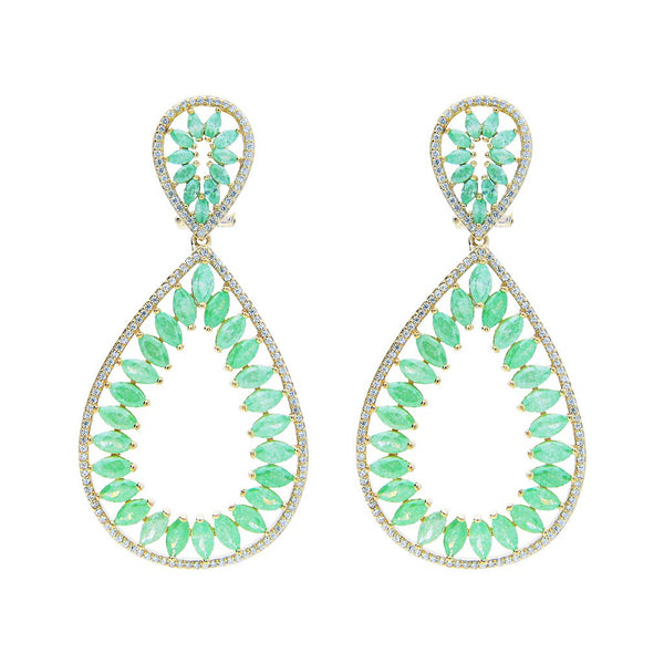 "Fronay Collection Rhodium PL Silver Green & White CZ Marquise Earrings, 2.5"" - jeweleen"