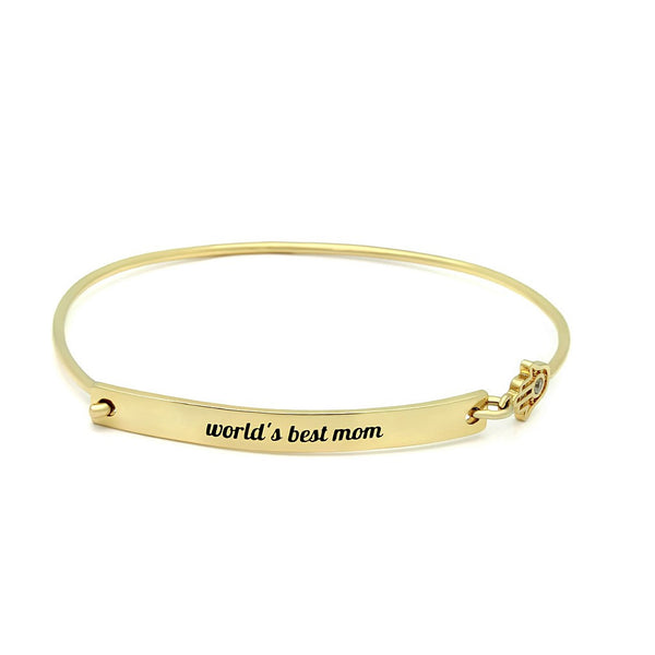 "18k Gold Plated Mothers Bracelet, Gold Bar Hamsa Bracelet, engraved ""Worlds Best Mom"" Bracelet For Mom - jeweleen - 1"
