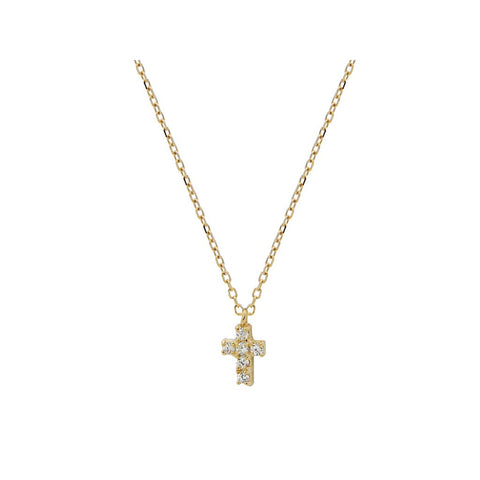 "Silver Gold Plated Plated Cz 8 mmCross  Necklace 16""+ 2"" - jeweleen"